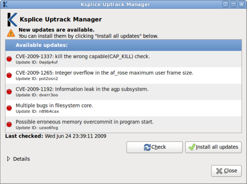 Screenshot: viewing available Ksplice kernel updates